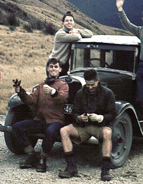 Winter 1957: Pete Blackgrove, Stu Pearce and Jim Haskill relaxing on our group car.