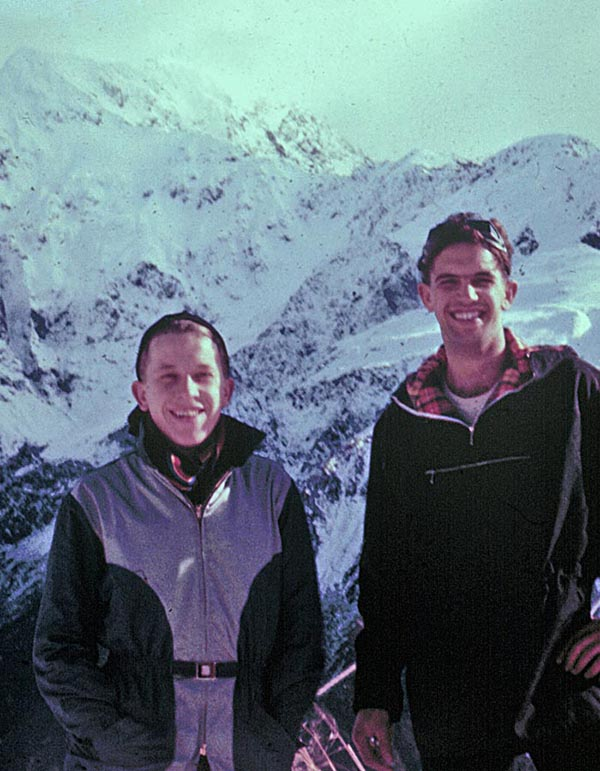 Winter 1957: Stu Pearce and Alan Papesch on our magic ski tour near Arthurs Pass
