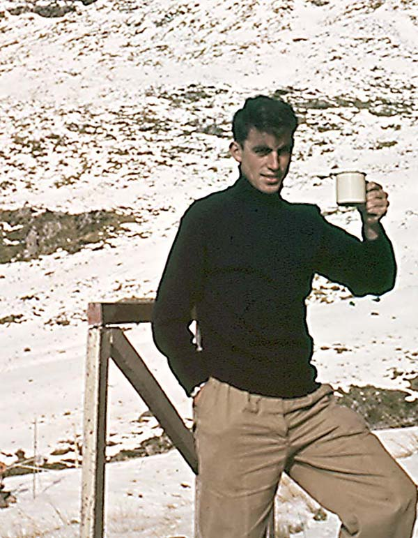Winter 1957: Pete Blackgrove on our magic ski tour near Arthurs Pass