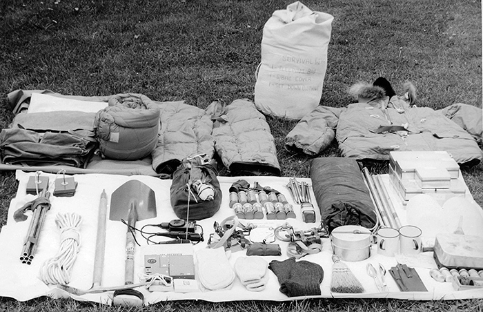 The Antarctic Survival Kits in both the Beaver and Auster ... note the ice axe and crampons