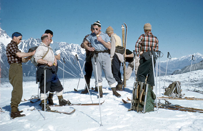 Tasman Glacier 1959: Glacier travel on skis using actual seal skins. Bill Cranfield on left, Pete Rule in centre