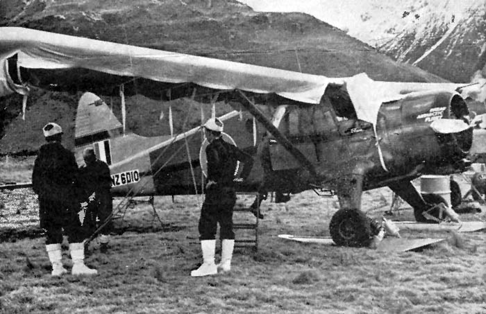 Mount Cook airstrip 1959: The RNZAF Beaver ready for the Glacier flying. Fitted with wheel-skis.