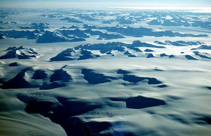 The Antarctic continent from 24,000 feet, flying south over Cape Adare to McMurdo Base.