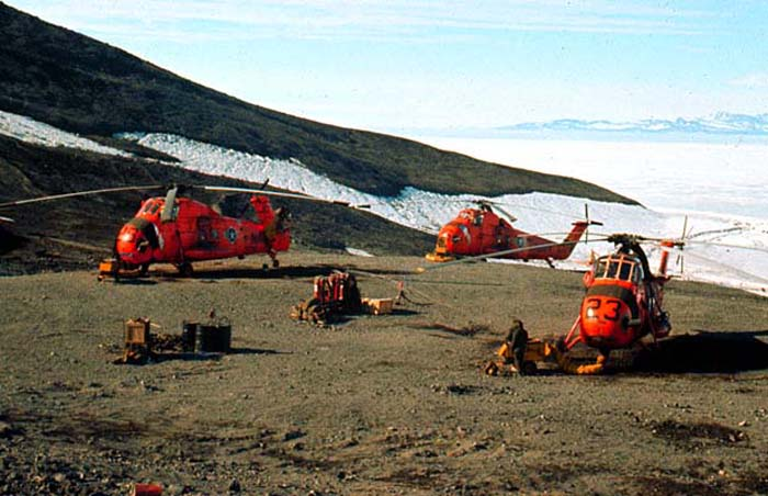 The VX6 chopper pad at McMurdo Base - 3 Sirkorsky S58's