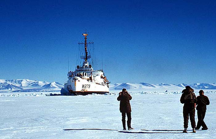 The USCG Icebreaker 'Eastwind' in the pack ice of McMurdo Sound