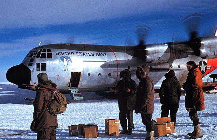 USN C-130 BL Hercules on the skiway at South Pole Station ... 10,000' above sea level