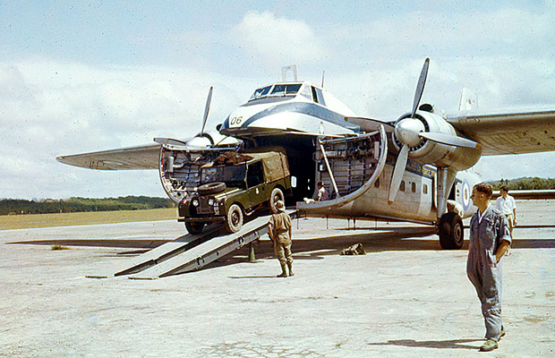 1960: 41 Squadron Bristol Freighter at Gong Kedah, Malaya.  Bruce Tayler on right.