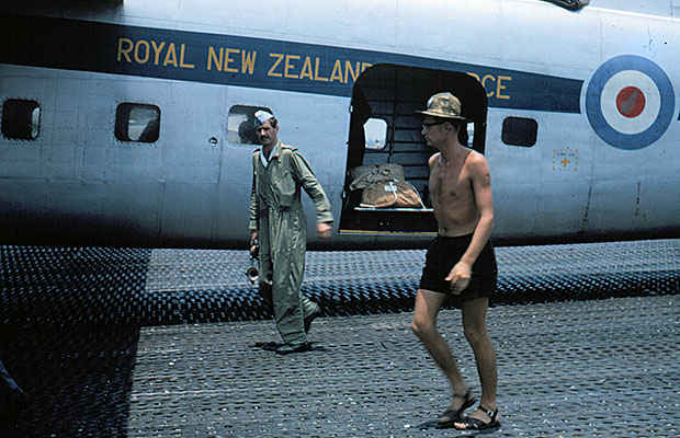 1965:  Frank Roach back from a Supply Drop mission over the Sarawak jungle.