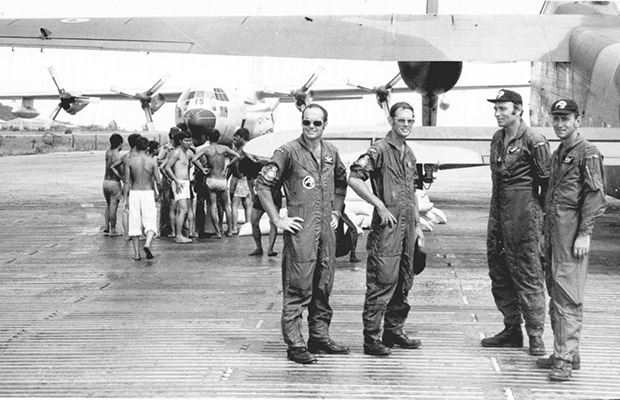 1975: A 41 Sqn crew at An Toi: Monti, Barson, Brumfield and White