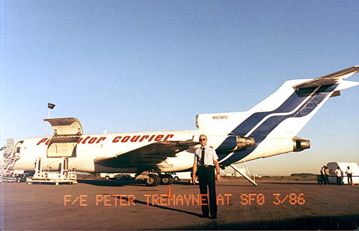 Me, the Flight Engineer, with my Purolator Courier B727-100 at San Francisco in 1986.
