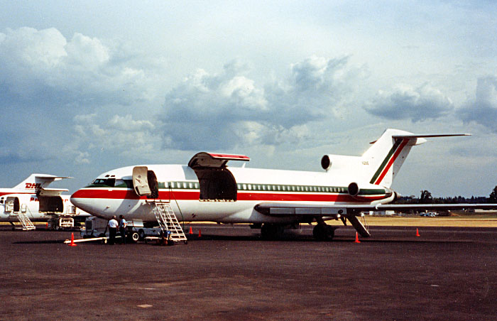 A Consolidated Freight B727-100 at Portland, Oregon in mid 1987