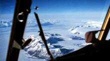 Flying north down the Beardmore Glacier from the South Pole.