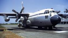 RNZAF C-130H Hercules NZ7002 at Chittagong Airport, Bangladesh during the April 1972 Relief Operation.